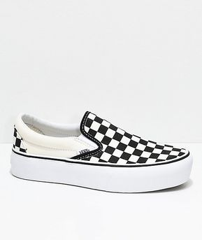 White Checkered Platform Shoes