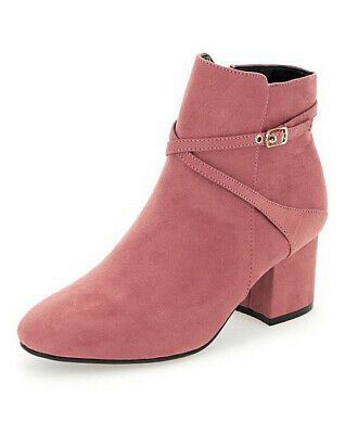 LADIES PINK WIDE FIT E ANKLE BOOTS