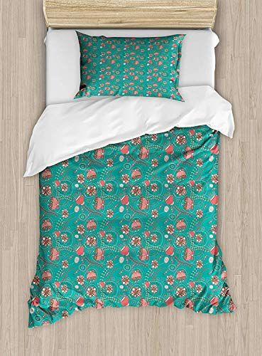 Big Buy Store Turquoise Duvet Cover Abstract Floral Arrangement Hand Drawn Foliage With Circular Elements Romanti Turquoise Duvet Cover Bedding Set Teal Coral