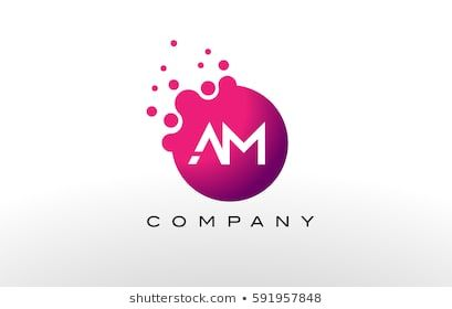 Am Letter Dots Logo Design With Creative Trendy Bubbles And Purple