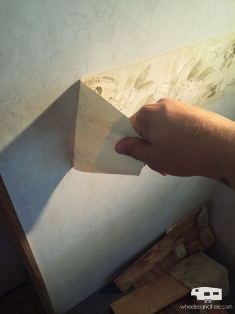 Instructions for removing wallpaper in an RV