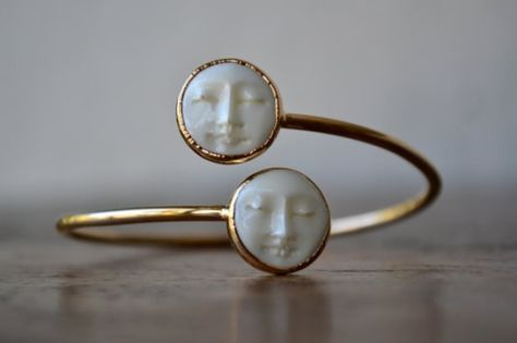 MAN In The MOON Bangle /// Electroformed Carved Bone Moon /// Gold /// Bracelet