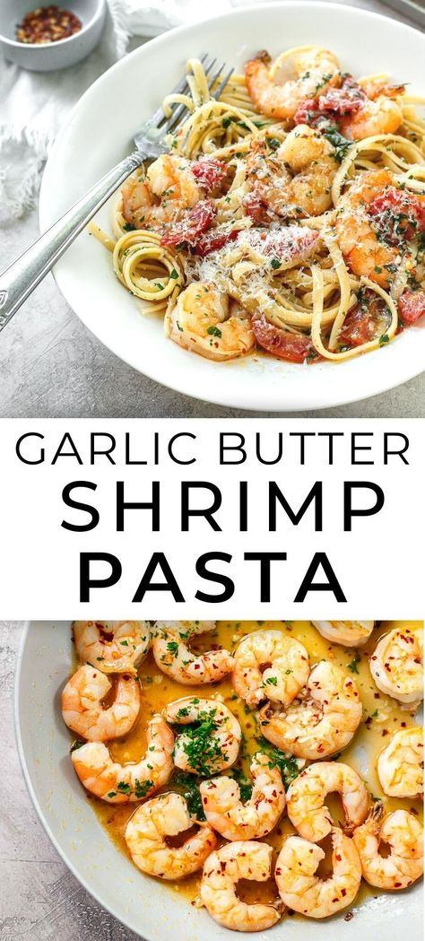 Garlic Butter Shrimp Pasta - My easy family recipe for the best tasty shrimp in a quick garlic butter sauce. So much better than dining out! # quick and Easy Recipes Garlic Butter Shrimp Pasta Shrimp Recipes For Dinner, Easy Pasta Recipes, Seafood Recipes, Cooking Recipes, Healthy Recipes, Recipe For Shrimp With Pasta, Easy Shrimp Pasta Recipes, Best Recipes, Italian Shrimp Recipes