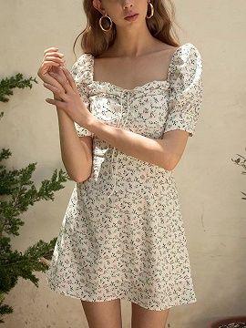 White Chiffon Square Neck Floral Print Puff Sleeve Mini Dress Choies Com Mini Dress With Sleeves Fashion Pretty Outfits
