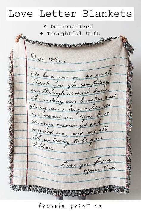Write a letter to a loved one, and we'll weave it into a gorgeous 100% cotton throw blanket. You can even use your own handwriting! Makes an amazing gift for mom, dad, grandparents, husband, wife or best friend. Wedding present for bride, groom or parents. Made in the USA. #diygifts #easycrafts #giftidea
