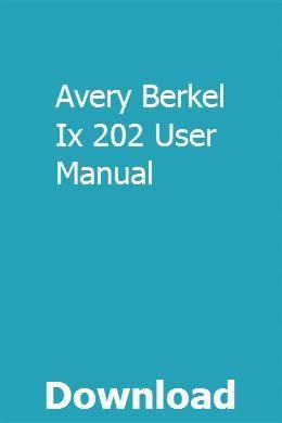 Avery Berkel Ix 202 User Manual Manual Car Repair Manuals Manual
