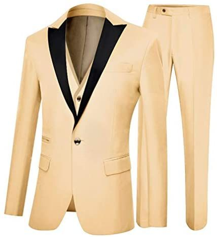 Botong Mens One Button 3 Pieces Wedding Suits Notch Lapel Suits Groom Tuxedos