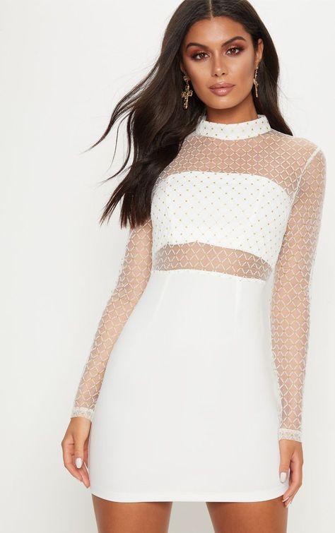 White Criss Cross Mesh Top Bodycon Dress Bodycon Dress Dresses