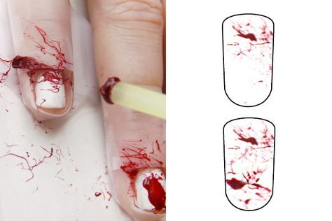 splatter blood nail art tutorial  http://www.refinery29.com/22761/slideshow#