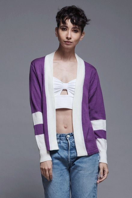 Italian Knit Cardigan Sweater Top Open Front Purple White Vintage 80s Small S Vintage Clothing Online Vintage Outfits Clothes