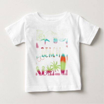 Beach Collage Water Colours Baby T Shirt Zazzle Com Colours