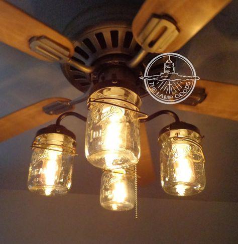 Mason Jar Ceiling Fan LIGHT KIT with Vintage Pints - Mason Jar Light Fixture - The Lamp Goods - 2