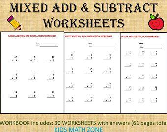 Grade 1 Math Workbook One Per Day 120 Math Worksheets Etsy Math Workbook Math Worksheets Math Printables