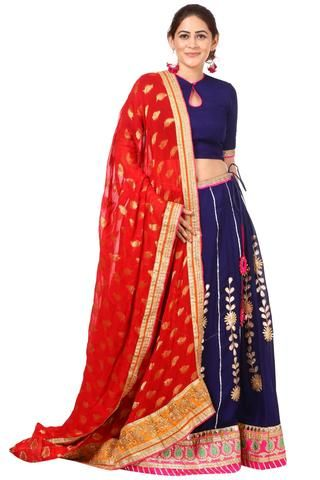 8fec48d3bceba1 Blue Gotta Patti Lehenga with Keyhole Choli and Red Banarsi Georgette  Dupatta
