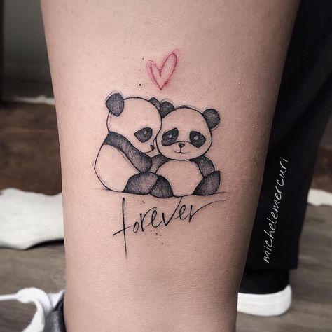 """Tatuagem feita por Michele Mercuri (mercuri_michele) da Itália.    Pandas. coração e escrita """"forever""""."""