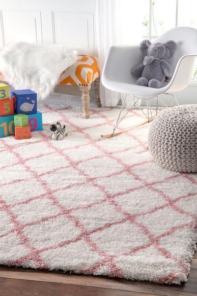 Nuloom Nelda Trellis Kids Shag Ozas03b Baby Pink Area Rug Kids Rugs Rugs Usa Diamond Rugs