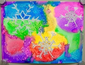 Winter Holiday Art Lesson Watercolor Snowflake Resist Paintings