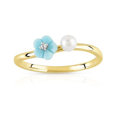375 Bague Perle Diamantmatybijoux Jaune Or Culture De Turquoise f6yvb7gY