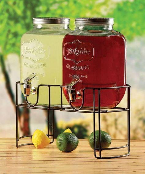bar@drinkstuff Beverage Dispenser Mason Jar Beverage Dispenser jugo dispensador Yorkshire Mason Jar Bebidas Dispensador con 8ltr Soporte dispensador de c/óctel vintage Bebidas Dispensador