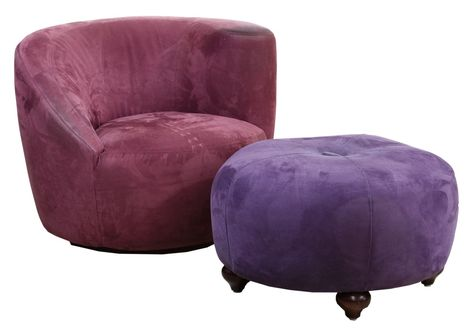 microfiber club chair with ottoman folding steel amazon lot 142 kagan style and swivel round in lavender purple