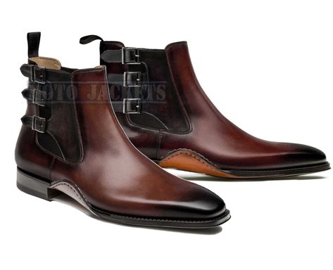 Handmade Chelsea Leather Brogue Boots, Ankle High Triple
