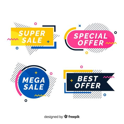 Colorful memphis sale banner pack Free Vector