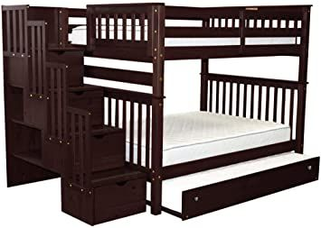 Bedz King Stairway Bunk Beds Full Over Full With 4 Drawers In The Steps And A Twin Trundle Cappuccino Bunk Beds Stairway Bunk Beds Bed With Drawers
