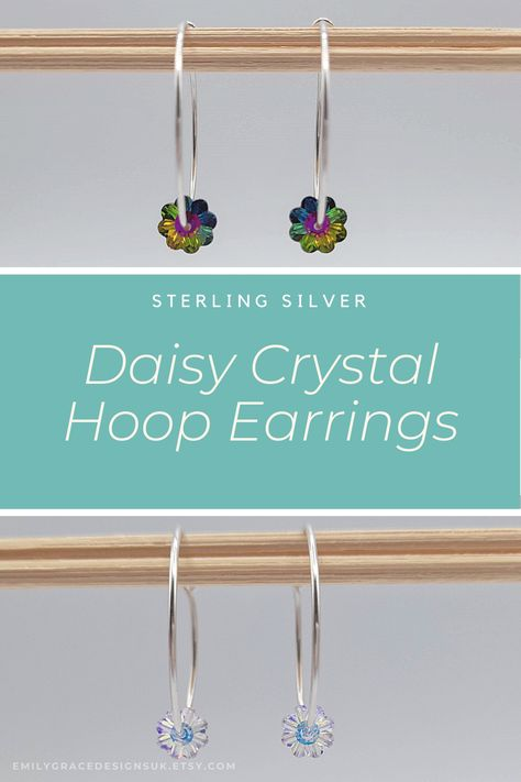 Beautiful handmade sterling silver bead hoops with a Swarovski daisy shaped crystals. They are simple and dainty, making them easy to wear both day to day, or to add that bit of sparkle to a night out. A perfect gift for any occasion, or to treat yourself! With FREE UK delivery shop now at Emily Grace Designs. #hoopearrings #swarovskiearrings #handmadeearrings