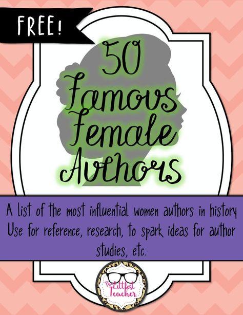 Free List of 50 Famous Female Authors | TpT Language Arts Lessons ...