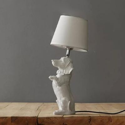 Dog White Table Lamp For Kids Bedroom With Linen Shade White Table Lamp Table Lamp Puppy Bedroom Ideas