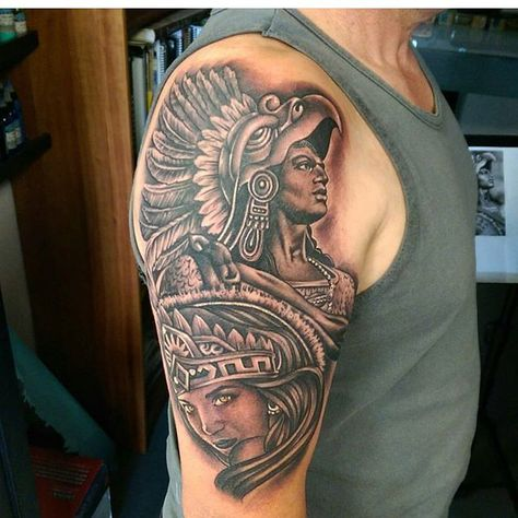 Aztec tattoo by @tommymontoya #mexicanstyle_tattoos #mexstyletats #mexicanculture #ink #tattoos #blackandgrey #azteca #aztec #aztectattoo