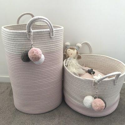 Pom Pom Cotton Rope Storage Basket For Stylish Toy Storage And Modern Homes S Izobrazheniyami Verevochnaya Korzina Korzina Dlya Belya Vyazanyj Kovrik
