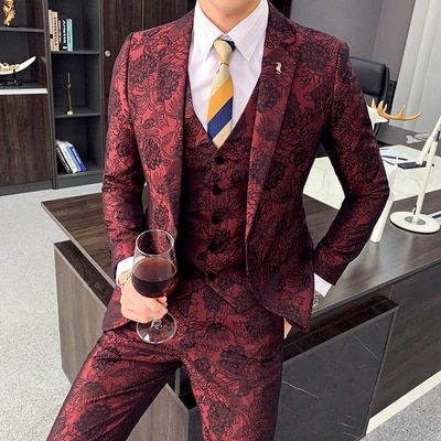 Mens Blazer Suit Slim Fit Tuxedo Coat Club Wear Sequin Formal Wedding Groom UK
