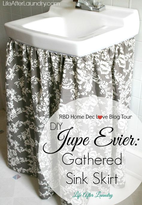 A little fabric made a huge upgrade to my bathroom with this tutorial for a DIY Gathered Sink Skirt.