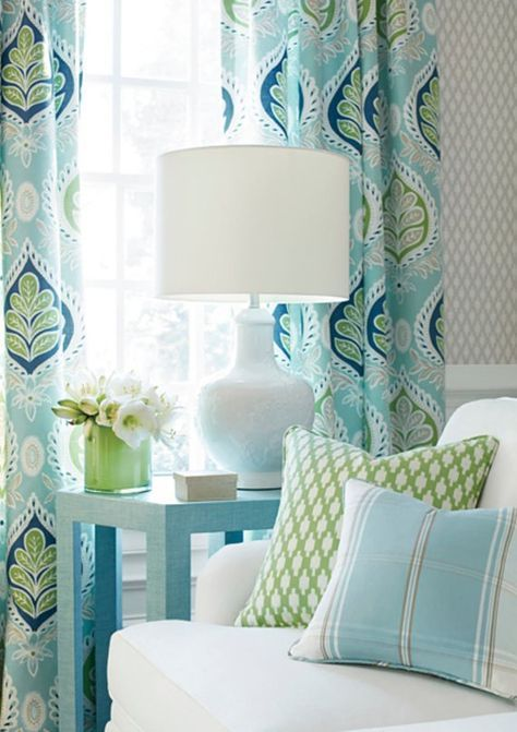 Blue Green Curtains Blue Ikat Curtains Thibaut Curtains Curtain
