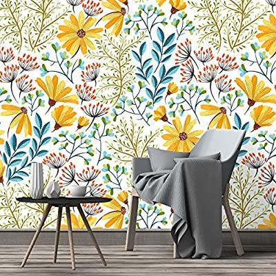 Colormewalls Colorful Spring Wild Flowers Peel And Stick Self Adhesive Removable Wallpaper 24 W X 96 Nursery Wallpaper Removable Wallpaper Bright Wallpaper