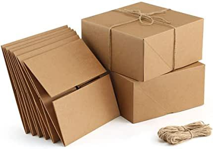 Valbox Premium Gift Boxes 10 Pack 8 X 8 X 4 Brown Paper Gift Boxes With 20 Meters Hemp Rope In 2020 Paper Gifts Bridesmaid Proposal Box Paper Gift Box