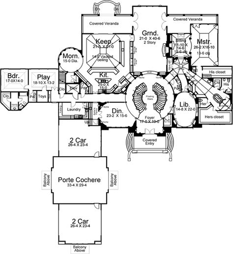 European Style House Plans - 13616 Square Foot Home , 2 Story, 6 Bedroom and 6 Bath, 4 Garage Stalls by Monster House Plans - Plan 24-129