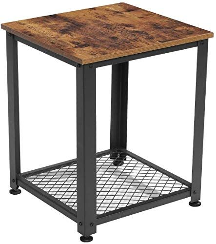 New Kingso End Table 2 Tier Industrial Sofa Side Table Storage Shelf Easy Assembly Square Nightstand Wood Look Accent Furniture Metal Frame Living Room Bedroom Rustic Brown Online Shopping In 2020 Industrial