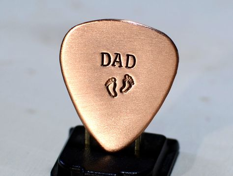 Copper Guitar Pick for a Dad to Be or Fathers Day Stamped with Baby Feet