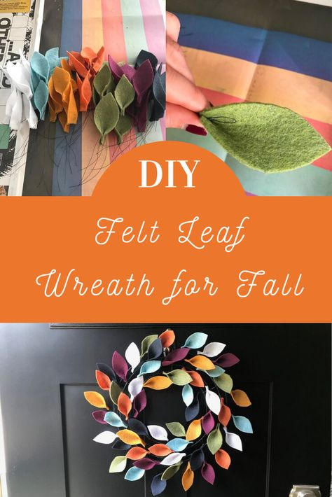It takes more time than talent to create, so keep reading to find out how to make your own felt leaf wreath. It's a colorful addition to any Fall decor. Felt Wreath, Wreath Crafts, Diy Wreath, Burlap Wreaths, Mesh Wreaths, Rustic Wreaths, Yarn Wreaths, Tulle Wreath, Wreath Ideas