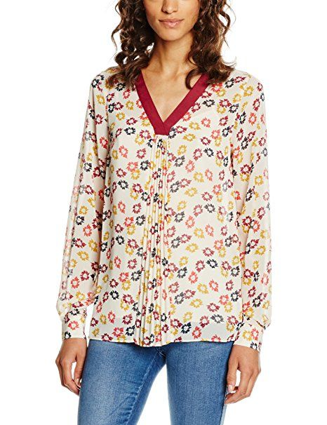 SET Damen Bluse, Mehrfarbig (Khaki Red 673), 34: Blusen