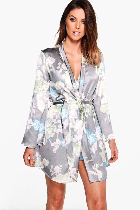 Satin Floral Print Robe #AFF, , #AFFILIATE, #affiliate, #Floral, #Print, #Robe, #Satin