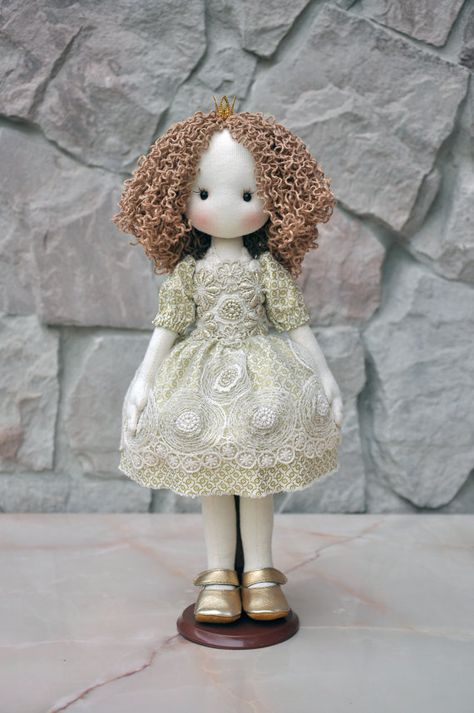Textile doll, decorative doll,collectible dolls , doll cotton, rag doll\ Height of doll inches) The doll is sewn of natural materials (cotton cloth).