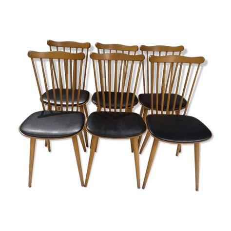 De Chaises Vintage Suite Baumann Menuet 6 Bistrot Boismatériau PZikOXu