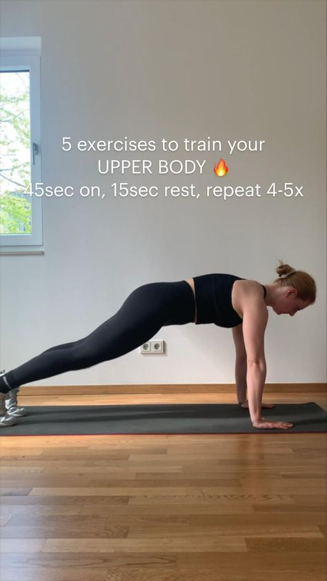 5 exercises to train your  UPPER BODY 🔥 45sec on, 15sec rest, repeat 4-5x