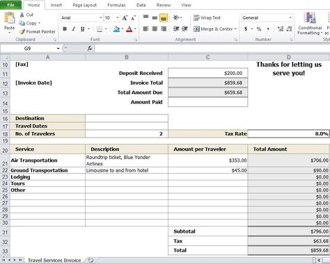 Travel-Agency-Invoice-Format-Exceljpg 853×684 pixels Travel - transportation invoice