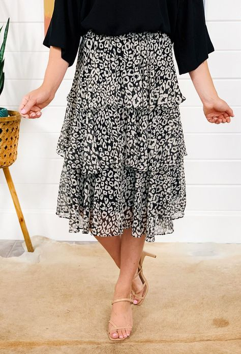 Noor Tiered Cheetah Skirt