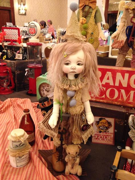 Nikki Britt Studio's MSD BJD Phoebe as a clown at BJDC 2014 Austin, TX.  Clown outfit by Sweet Creations, aged by Nikki.