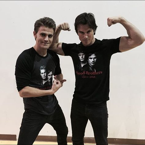"""Pin for Later: 20 Pictures of Ian Somerhalder and Paul Wesley That Will Make You Say, """"Hello, Brother"""" When Their Cute Shirts Almost Distracted You From Ian's Biceps"""